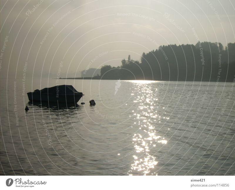 Loneliness Autumn Lake Watercraft Europe Switzerland Seasons