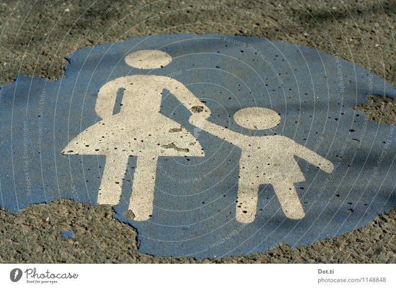 Come on, let's go for a walk. Traffic infrastructure Pedestrian Street Lanes & trails Road sign Sign Signs and labeling Blue Gray Safety Sidewalk Mother Child