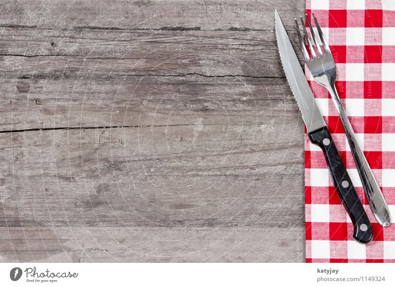 cutlery Fork Knives Table-knife Cutlery Set meal Eating Food photograph Restaurant Red Blanket Black & white photo Tablecloth Wood Background picture Steak
