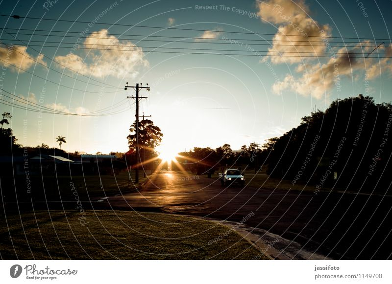 small-town evening Sun Landscape Sunrise Sunset Sunlight Small Town Road traffic Street Crossroads Vehicle Car Vacation & Travel Australia Mission Beach