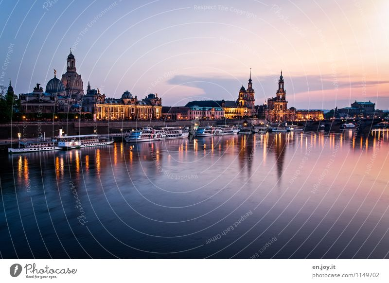 docked Vacation & Travel Tourism Trip Sightseeing City trip Summer vacation Night life Cloudless sky Sunrise Sunset Beautiful weather River Elbe Dresden Saxony