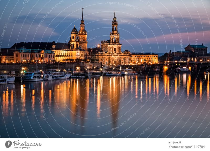 deceptive calm Vacation & Travel Tourism Trip Sightseeing City trip Night life Night sky River Elbe Dresden Saxony Germany Town Old town Skyline Church Tower