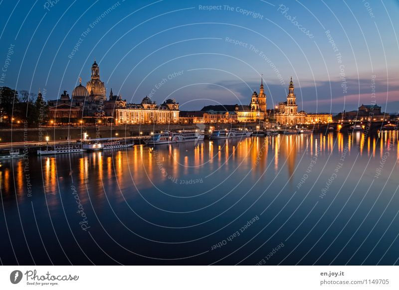 beautiful it is there Vacation & Travel Tourism Trip Sightseeing City trip Night life Night sky River Elbe Dresden Saxony Germany Town Old town Skyline Church