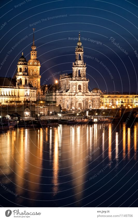 Enlightened Vacation & Travel Tourism Trip Sightseeing City trip Night life Lighting Night sky Dresden Saxony Germany Town Old town Skyline Church Castle Tower