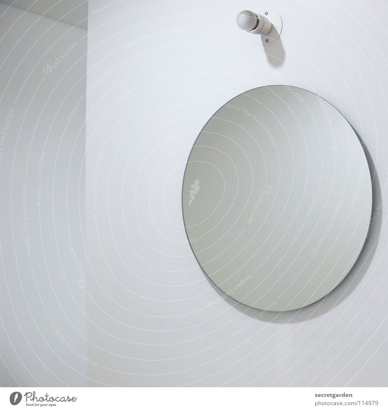minimalism in the bathroom I Bathroom Mirror Lamp Electric bulb Minimal House (Residential Structure) Wall (building) Room White Calm Relaxation Wet Clean
