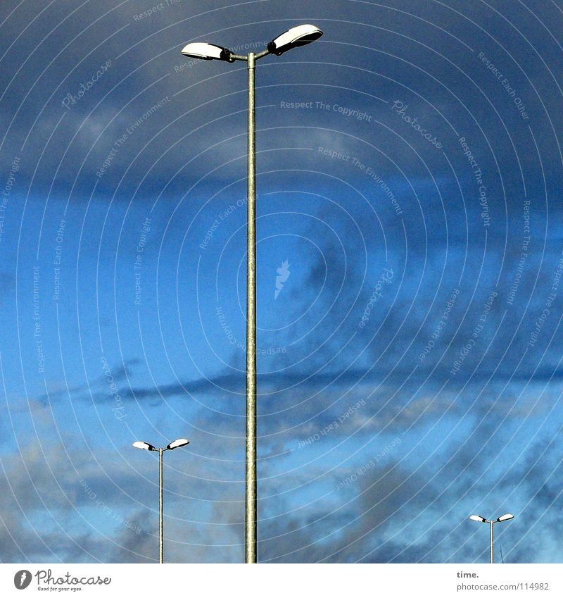 candelabra Lamp Sky Clouds Weather Blue Lantern 3 Direct Street lighting Colour photo Exterior shot Copy Space left Copy Space right Day Sunlight