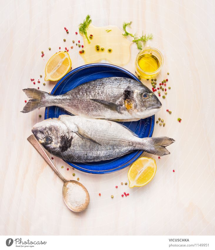 Prepare fresh fish with lemon and oil Food Fish Fruit Herbs and spices Cooking oil Nutrition Lunch Dinner Banquet Organic produce Vegetarian diet Plate Spoon