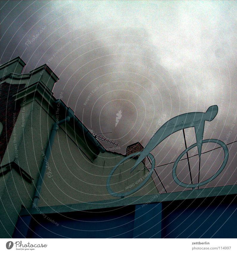 Sky Clouds Bicycle Roof Decoration Advertising Sculpture November Raincloud Flat roof Bike Rental Shop