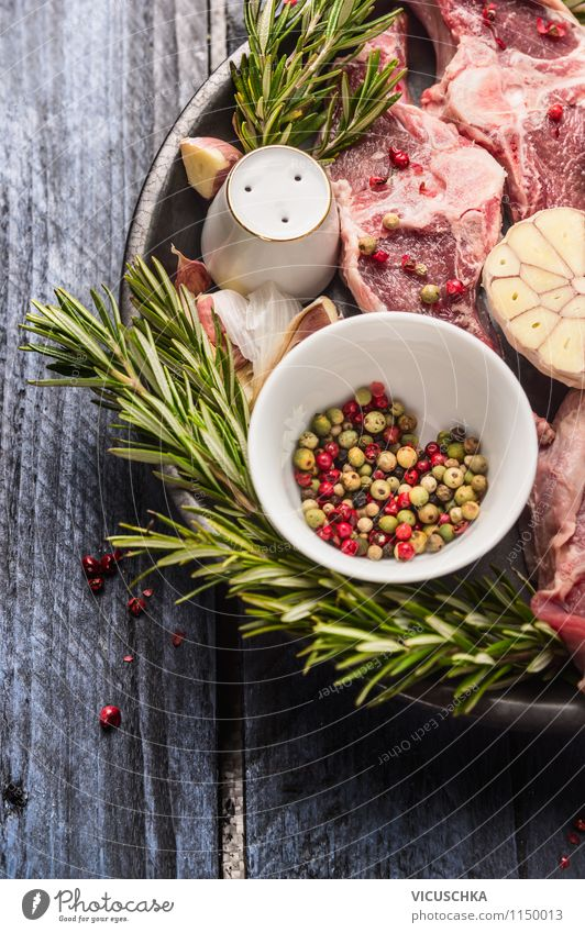 Lamb with rosemary and coloured pepper Food Meat Herbs and spices Nutrition Lunch Dinner Organic produce Diet Plate Bowl Style Design Healthy Eating Table