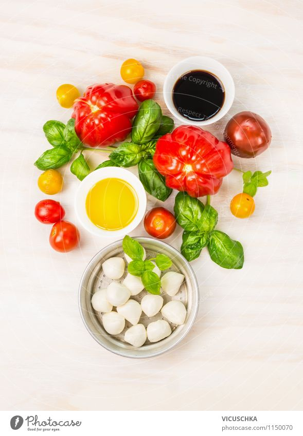 tomatoes, mozzarella, oil, balsamic vinegar and basil Food Cheese Vegetable Lettuce Salad Herbs and spices Cooking oil Nutrition Lunch Picnic Organic produce