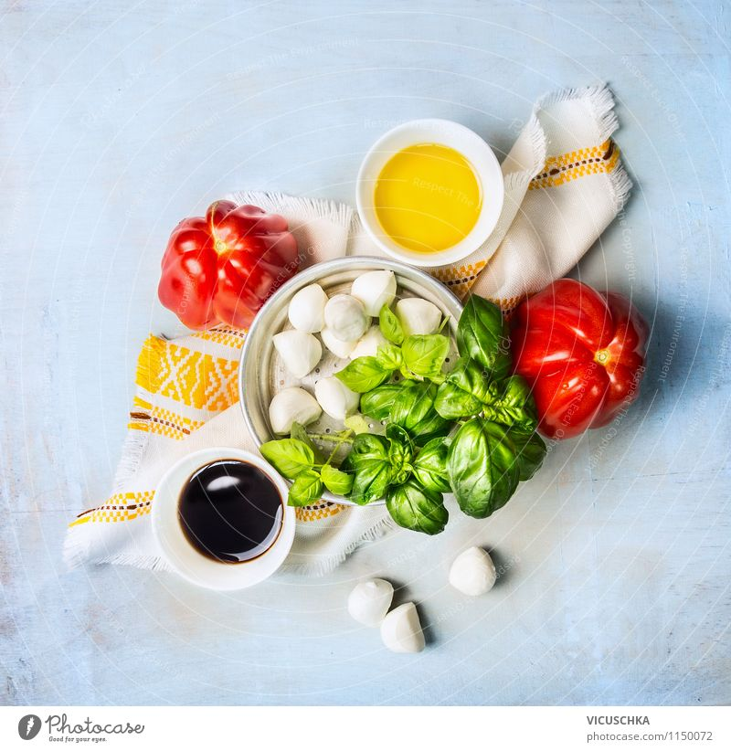 Tomatoes and mozzarella salad make - Ingredients Food Cheese Dairy Products Vegetable Lettuce Salad Herbs and spices Cooking oil Nutrition Lunch Organic produce