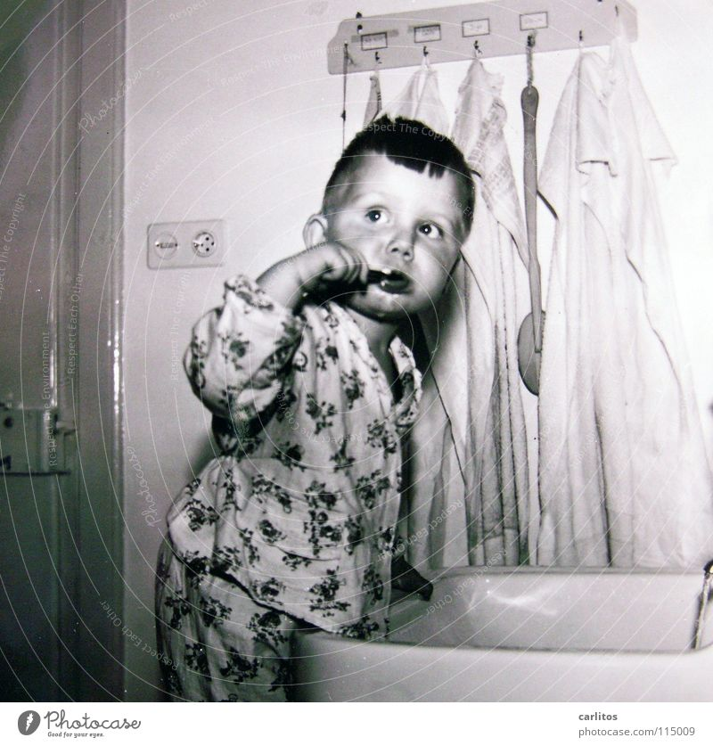 then it was The fifties Renewal Economic miracle Child Bathroom Dental care Medium format Healthy Toddler postwar generation Gastronomy Germany