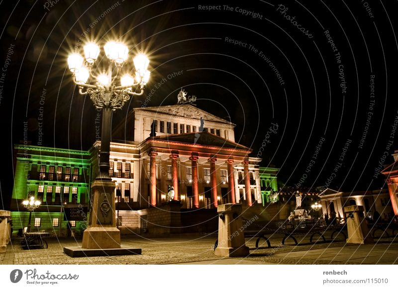 Gendarmenmarkt in the evening Light Long exposure Lantern Places Calm Night Traffic infrastructure Berlin Evening Town