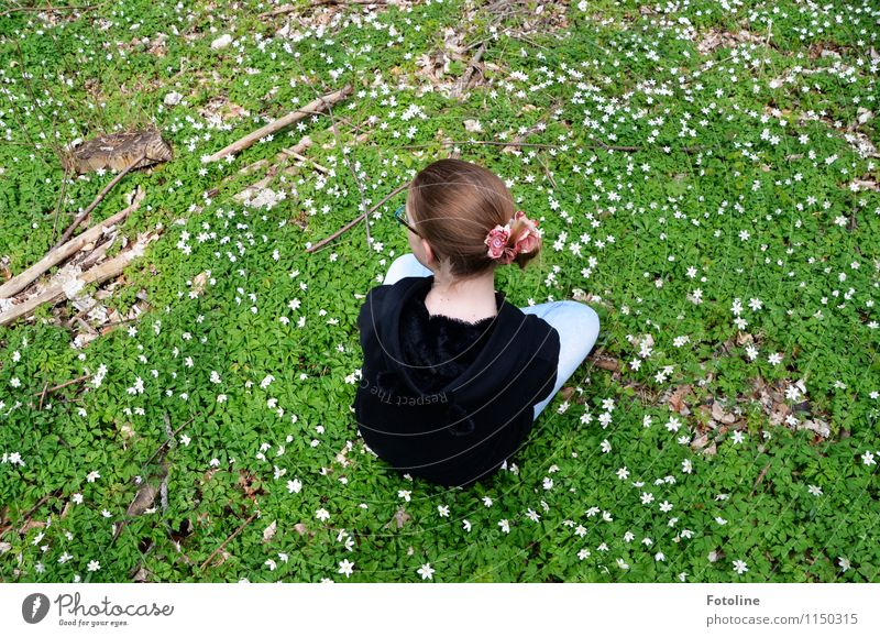 Human being Child Nature Youth (Young adults) Plant Beautiful Green Relaxation Flower Girl Environment Spring Meadow Natural Feminine Hair and hairstyles