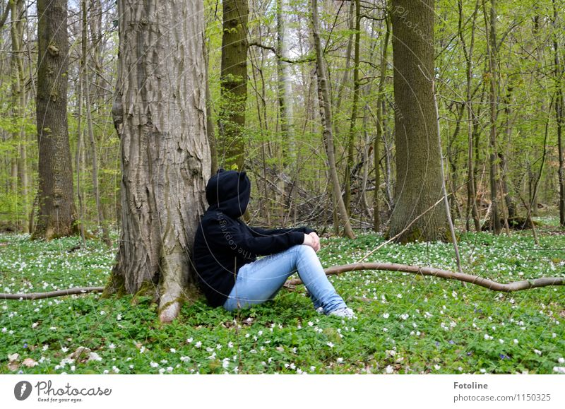 Human being Nature Youth (Young adults) Plant Green White Young woman Tree Relaxation Flower Landscape Calm Girl Forest Black Environment