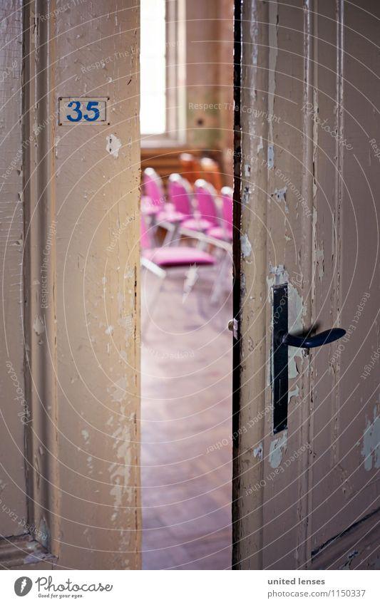 AK# behind Art Esthetic Door Door opener Slightly open door Door handle Chair Column 35 Entrance Front door Come right in Concert Colour photo Subdued colour