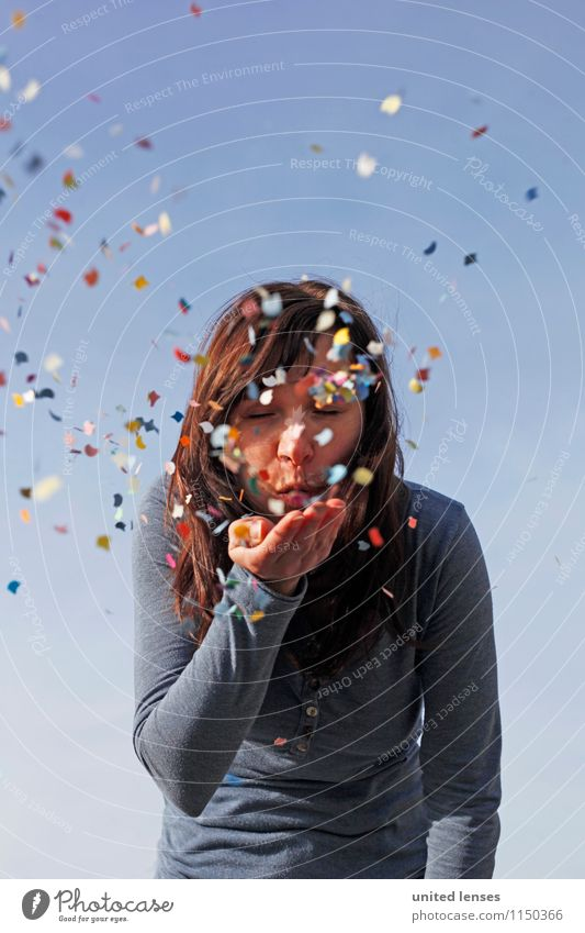AKDR# Confetti Country VI Art Esthetic Blow Multicoloured Many Particle Joy Comical The fun-loving society Woman Youth (Young adults) Youth culture Party mood