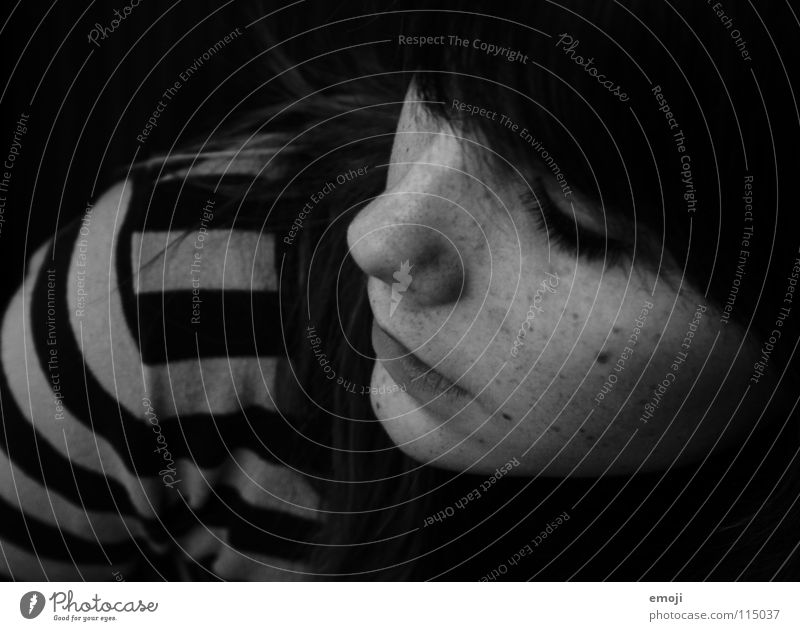 Janine Freckles Black White Gray Gloomy Think Sweater Striped Woman Bird's-eye view Portrait photograph Feminine Youth (Young adults) Beautiful Grief Thought