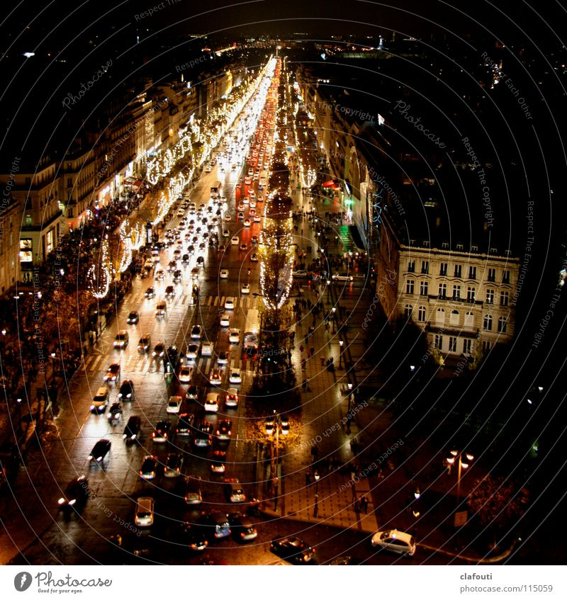 Champs-Élysées at night Colour photo Exterior shot Night Light Bird's-eye view Paris France Capital city Downtown Pedestrian precinct Populated