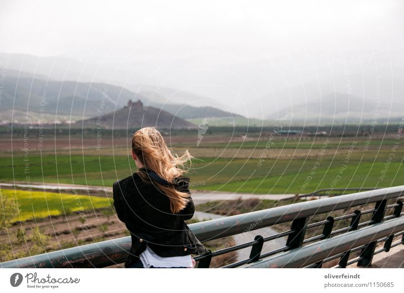 Human being Sky Nature Vacation & Travel Youth (Young adults) Young woman Landscape Clouds 18 - 30 years Far-off places Environment Adults Mountain Feminine Freedom Rock