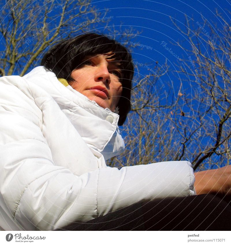 Woman Human being Sky Blue White Tree Beautiful Winter Cold Emotions Warmth Weather Wait Physics Longing Jacket