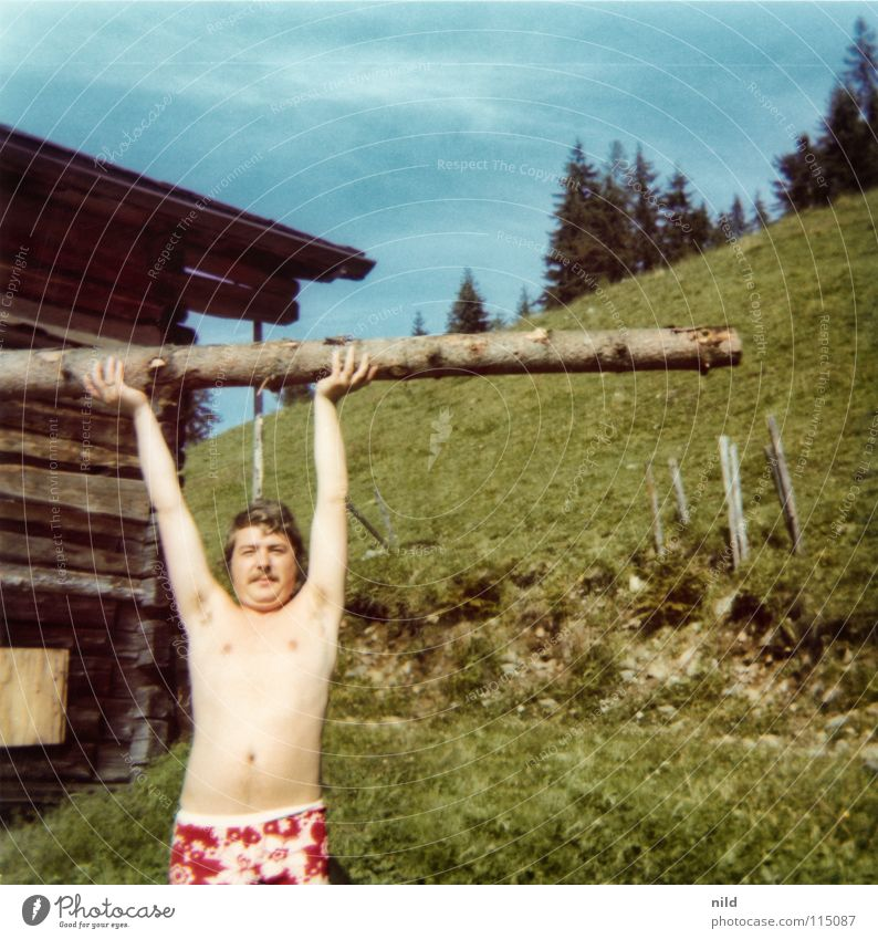 Man Old Summer Joy Vacation & Travel Naked Mountain Wood Funny Crazy Force Action Analog Strong Hut Guy