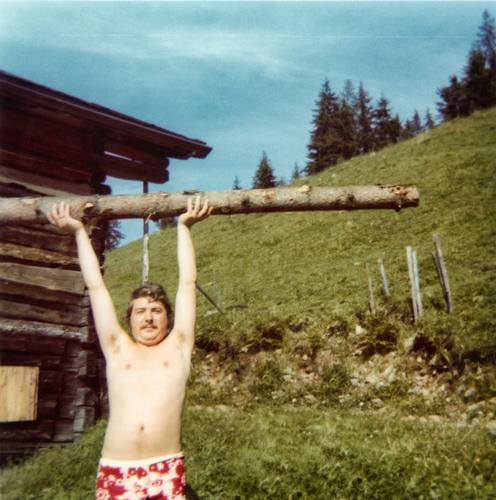 Oh, back then... (1) Summer Vacation & Travel Wood Man Fellow Strong Force Balance Naked Swimming trunks Flowery pattern Seventies Hippie Long-haired