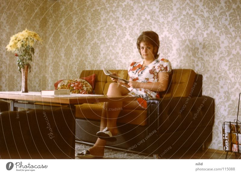 Woman Old Hair and hairstyles Legs Flat (apartment) Vase Dress Sofa Analog Wallpaper Living room Still Life Cozy Nostalgia Seventies Hippie