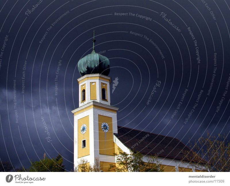 Sky Yellow Religion and faith Tower Clock Thunder and lightning Bavaria Bell House of worship