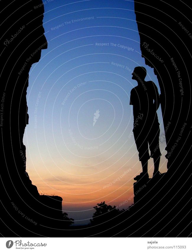 face to face Vacation & Travel Human being Masculine Man Adults 1 Sky Sunrise Sunset Rock Cambodia Asia Manmade structures Tourist Attraction Stone Dark Blue