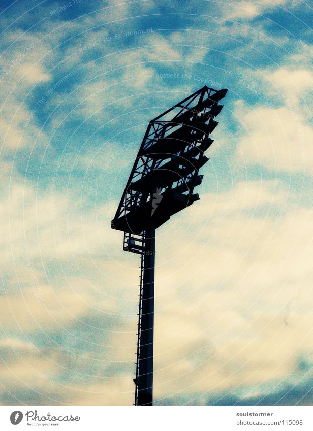 Sky Blue White Clouds Black Lamp Bright Middle Floodlight Stadium Ball sports Yellowness Cross processing Green undertone