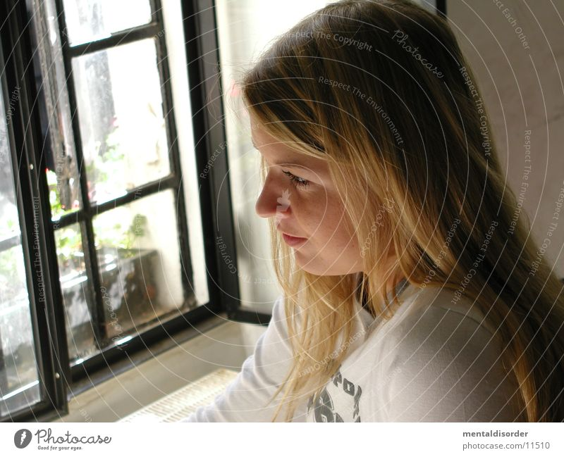 Woman White Face Eyes Window Hair and hairstyles Dream Blonde Nose Sit Thought Shoulder