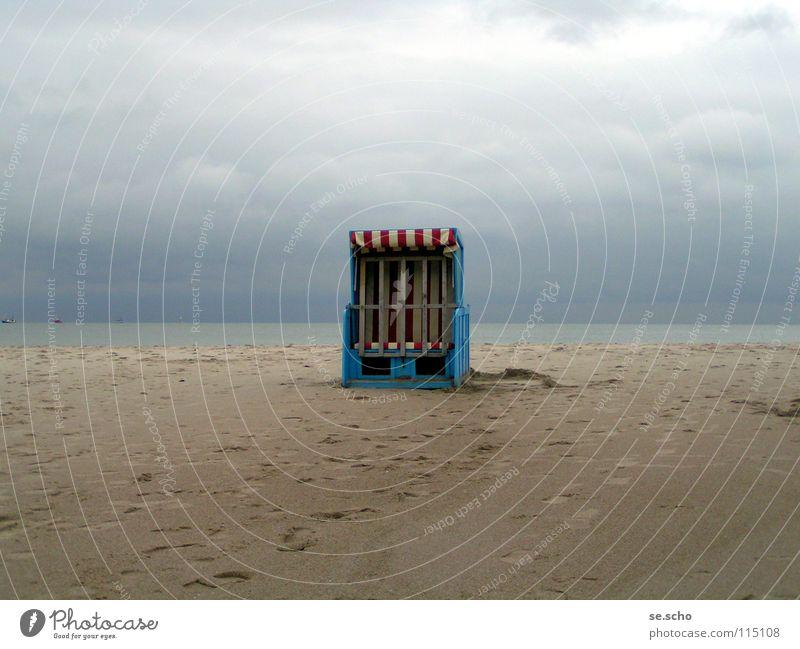 End of the season Beach Beach chair Ocean Coast Loneliness Still Life Darss Blue Sky Water Sand Baltic Sea