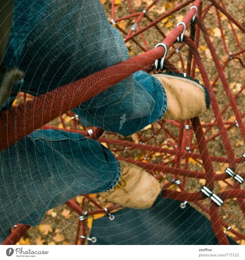 Joy Playing Movement Legs Contentment Footwear Tall Rope Climbing Peak Nostalgia Memory Playground Scaffold Romp Sandpit