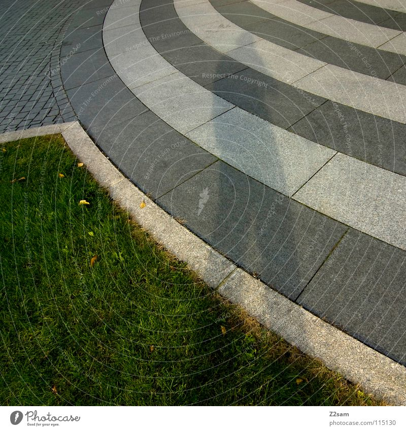 Green White City Street Meadow Dark Stone Style Line Bright Waves Signs and labeling Circle Floor covering Round Asphalt