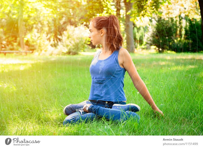 yoga Lifestyle Beautiful Wellness Contentment Relaxation Meditation Summer Yoga Human being Feminine Young woman Youth (Young adults) Woman Adults 13 - 18 years