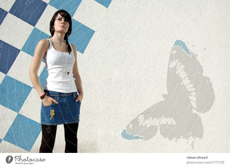 Woman Blue Black Hair and hairstyles Clothing Crazy Cool (slang) Model Posture Lightning Butterfly Guitar Chain Easygoing Hardcore