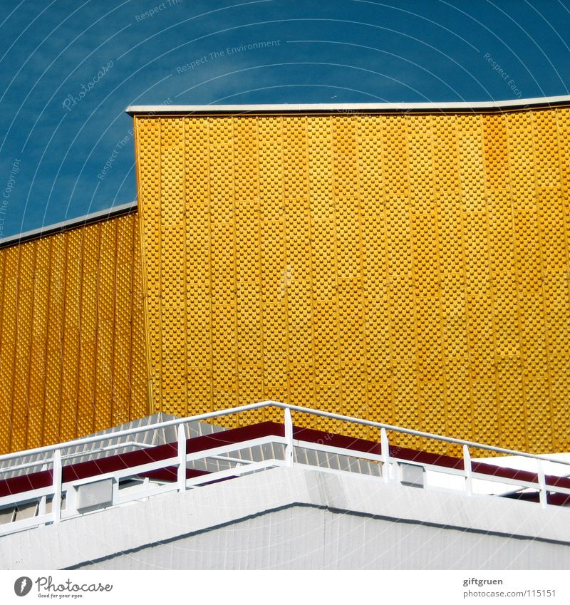Sky White Blue Yellow Berlin Building Gold Facade Stairs Modern Culture Concert Event Handrail Berlin Philharmonic