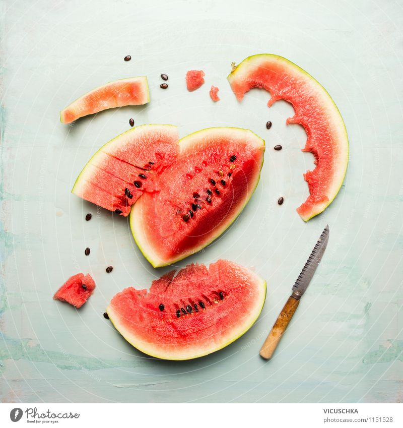 Watermelon with knife Food Fruit Dessert Nutrition Breakfast Organic produce Vegetarian diet Diet Juice Knives Style Design Healthy Eating Life Summer Table