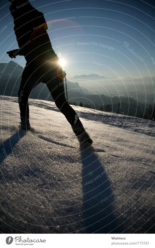 Woman Sun Winter Snow Mountain Movement Horizon Arm Walking Running Speed To go for a walk Tracks Lady Dynamics Coat