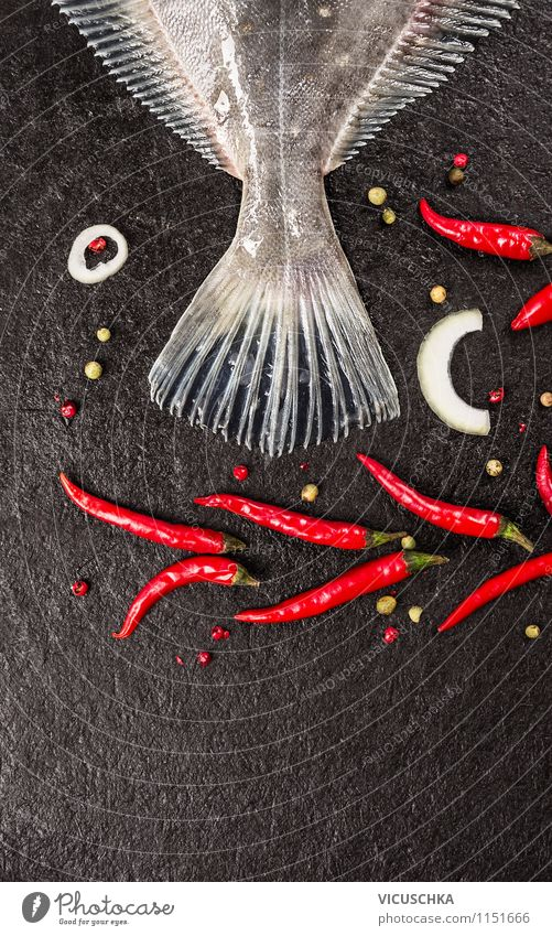Fishtail with chili on black background Food Herbs and spices Nutrition Lunch Organic produce Vegetarian diet Diet Style Design Healthy Eating Table Kitchen