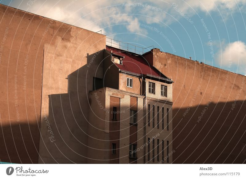 stopgaps Backyard Empty House (Residential Structure) Wall (building) Clouds Gloomy Strange Town Berlin Middle Gap Shadow Sky
