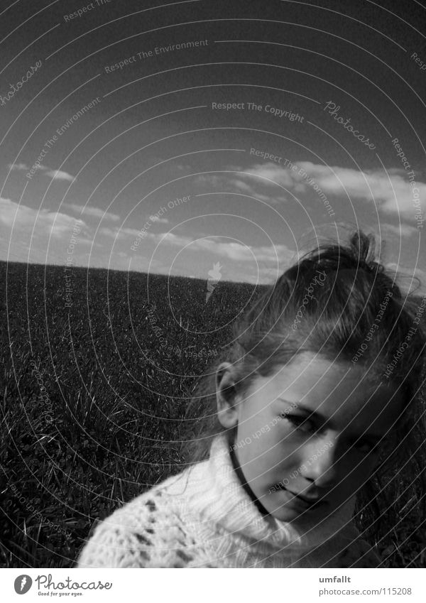 Don't forget mine Autumn Clouds Meadow Girl Search Beautiful Cape Chignon Sweet Small Children's eyes Fine Miss Black & white photo Sky Looking little girl Wait