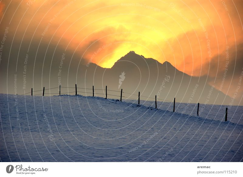 Hot Cold Winter Fence Sunrise Physics Fog Power Force Landscape Snow Mountain Alps Warmth