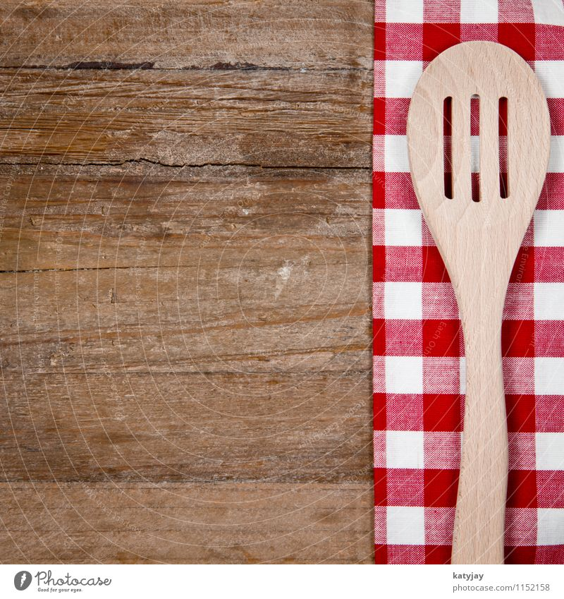 wooden spoon Wooden spoon Spoon Old Cutlery Tablecloth Wooden board Kitchen Red Wooden table Checkered Household Tool Cook Dish Fork Food White Brown Retro