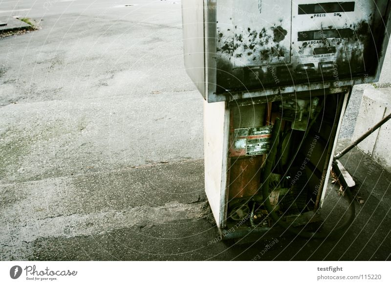it´s better to burn out... Petrol station Refuel Broken Burnt out Old Gasoline Diesel Spirit Concrete Tar Places Repaired Broom Sweep Detail across petrol