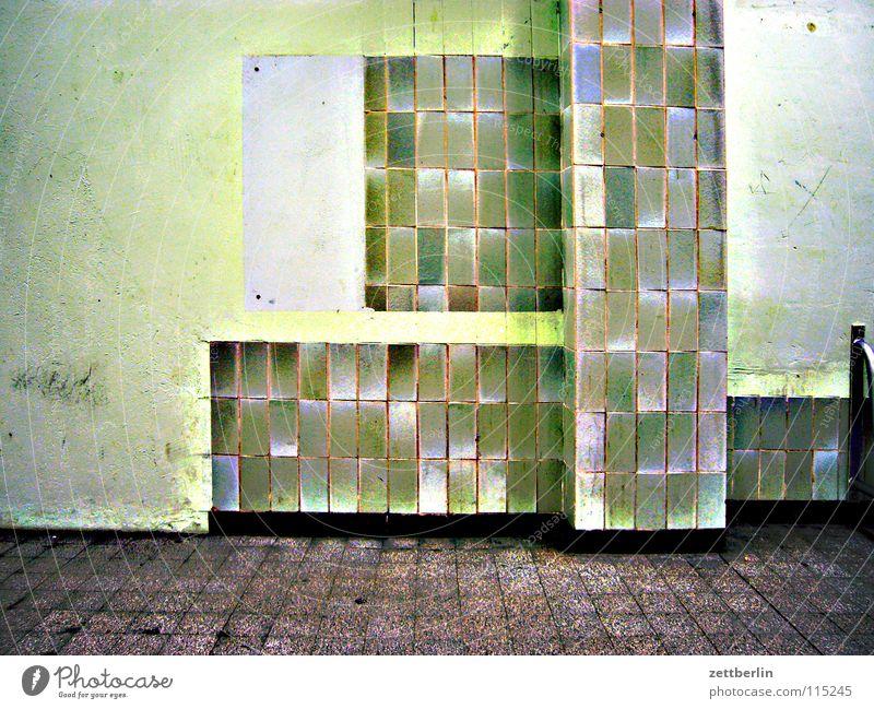 Green Architecture Tile Derelict Column Redecorate Departure lounge Run-down Pedestal Green undertone Waiting area