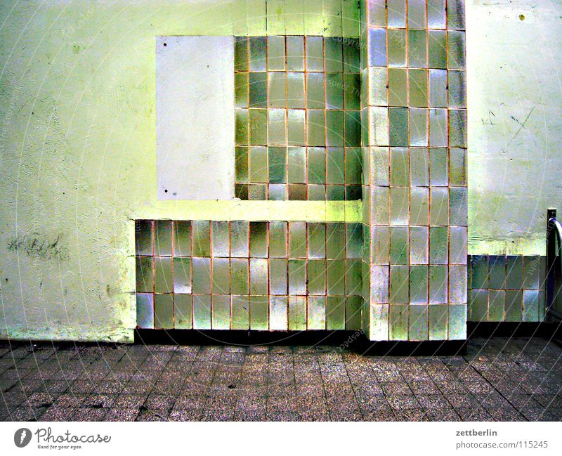 Green Architecture Tile Derelict Column Redecorate Departure lounge Run-down Pedestal Green undertone Waiting area