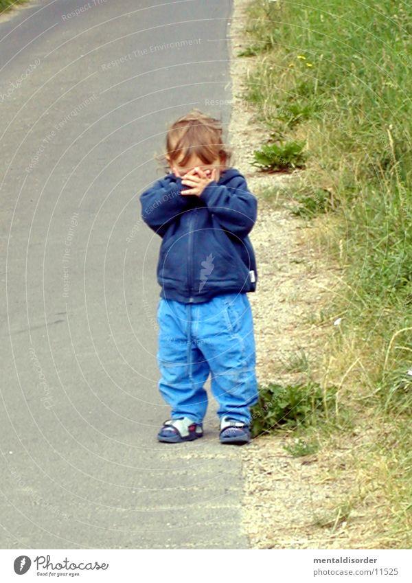Child Man Hand Face Street Grass Hide