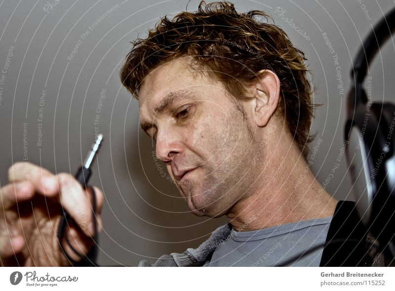 headroom Man Portrait photograph Headphones Connector Insert Plugin Music unplugged Connection Associated Listening Sense of hearing Search Concert Concentrate